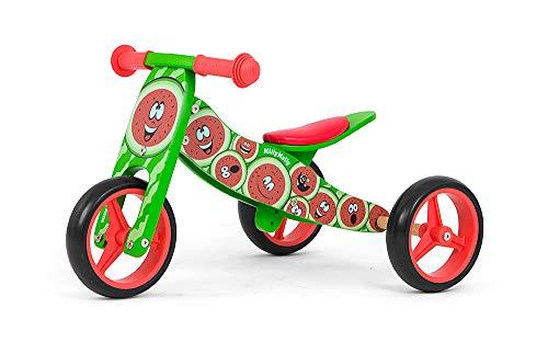 JAKE Fahrrad 2 in 1 Dreirad und Laufrad aus Holz, Kinderfahrzeug mit Schaumräder, Modell:Jake Watermelon