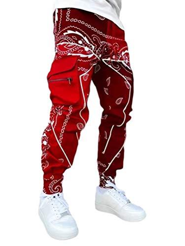 ORANDESIGNE Pantalones Cargo de Paisley para Hombre Casuales Pants Sueltos Ocasionales Pantalones Deportivos Jogging Ropa Deportiva Vino Rojo S