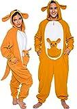 Silver Lilly Slim Fit Animal Pajamas - Adult One Piece Cosplay Kangaroo Costume (Orange/White, Medium)