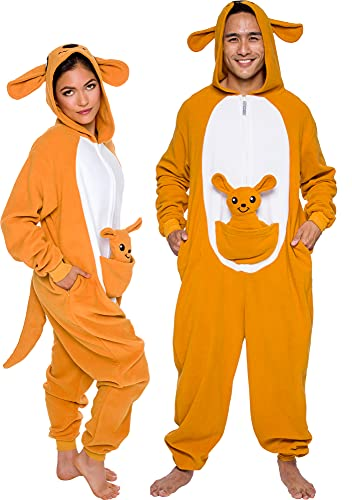 Slim Fit Animal Pajamas - Adult One Piece Cosplay Kangaroo Costume by Silver Lilly (Orange / White, Small)