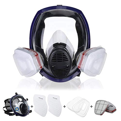 Reusable Full Face Cover 21 in 1, NASUM FM202B Full Face Respirator, Paint Face Cover for Painting, Machine Polishing, Woodworking, Welding, Decoration Work, and Other Work Protection (Medium)