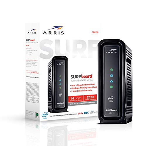 ARRIS SURFboard (32x8) Docsis 3.0 Cable Modem, Certified for Xfinity, Spectrum, Cox & More (SB6190 Black)