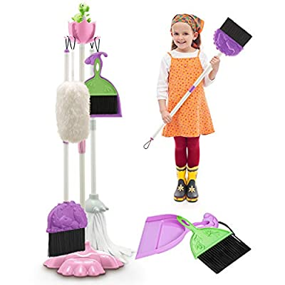 EP EXERCISE N PLAY Kids Cleaning Set, Toddlers Pretend Play Housekeeping Cleaning Toy with Broom Mop Brush Dustpan Duster Stand for Pretend Games, Role-Playing from EP EXERCISE N PLAY