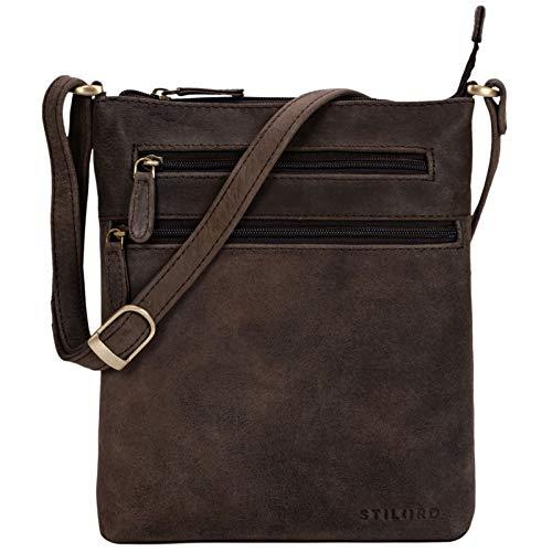 STILORD 'Juna' Damen Umhängetasche Leder braun Handtasche kleine Schultertasche Vintage Damentasche Ausgehtasche für Freizeit Party 9,7 Zoll Tablet iPad Echtleder, Farbe:Muskat - braun