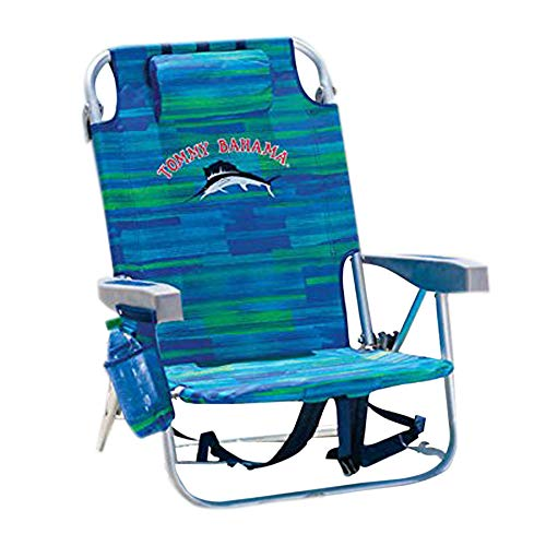 Tommy Bahama 1650033 Backpack Cooler Chair with Storage Pouch and Towel Bar, Blue/Green Patchy