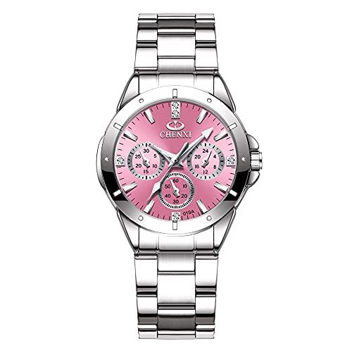 Clastyle Relojes Cronógrafo Decorativos para Mujer Moda Relojes Rosados Luminosos Diamantes MujerReloj de Pulsera Plateado de Acero Inoxidable
