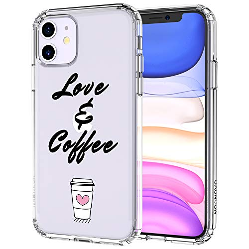 MOSNOVO iPhone 11 Case, Coffee Lover Pattern Clear Design Transparent Plastic Hard Back Case with TPU Bumper Protective Case Cover...