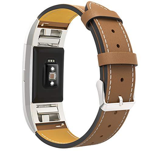 MoKo für Fitbit Charge 2 Armband, Klassisches Echt Leder Uhrenarmband Lederarmband Erstatzband Uhr Band Watchband mit Metallschließe für Fitbit Charge 2, Armbandlänge 139.7mm-205.7mm, Braun
