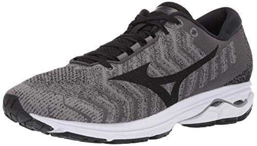 Mizuno Men's Wave Rider 23 WAVEKNIT Running Shoe, Quiet Shade-Black, 9 D