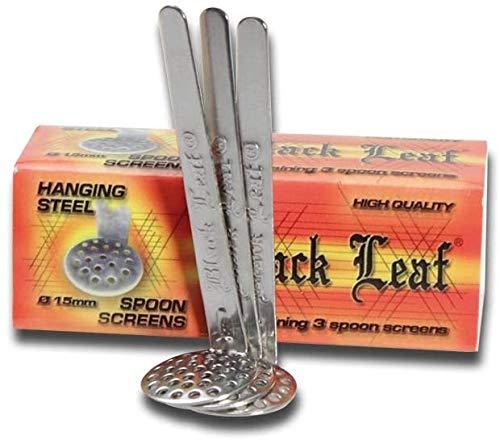 Hybrid-Shop 30x Black Leaf Einhängesiebe Ø 15mm Edelstahl (10x3er Pack) Hängesiebe inkl. Fight-Ansteck-Button