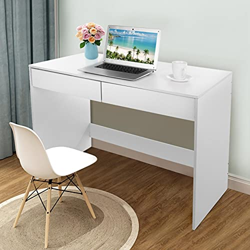 Awssya White Computer Desk, Office Desk Workstation Laptop PC Desktop Table Study Writing Table Gaming Desk, with 2 Storage Drawers, Home Office Features, UK in Stock