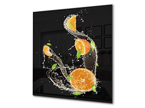 Fond en verre renforcé – Antiprojections en verre – Antiéclaboussures cuisine e salle de bain BS09 Série gouttes d'eau: Orange dans l'eau 2