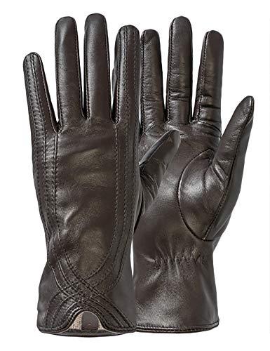 Damen-Lederhandschuhe, Rüschen aus italienischem Echtleder, Nappa, elegant, warm - Braun - 7.5/8 US (X-Large)