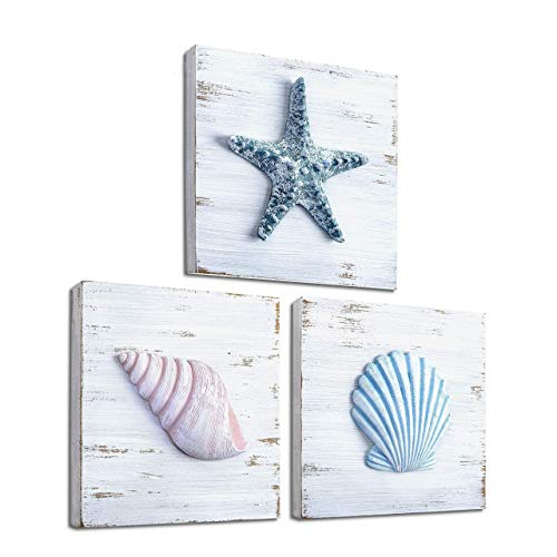 TideAndTales Beach Theme Seashell Wall Decor (Set of 3) | Shells and Starfish Beach Decor for Bathroom, Bedroom or Living Room | Rustic Coastal Decor | Ocean Inspired Beach Decorations for Home