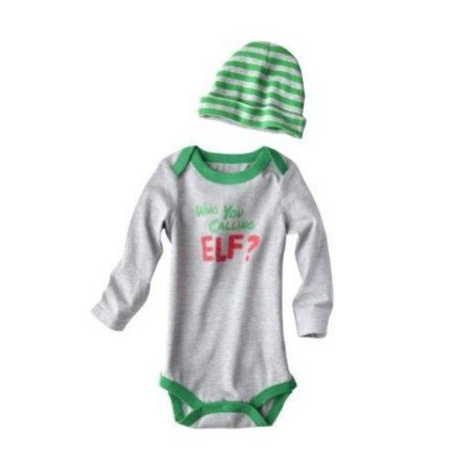 CHEROKEE Infant Boys Who You Calling Elf Onesie Christmas Bodysuit & Hat Set Gray