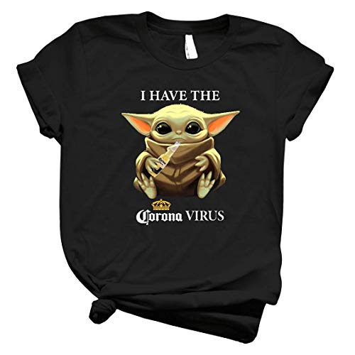 Baby Yoda I Have The Córonavirus Funny Staar Waars Shirt Yoda Baby Drink Coroona Beer Against Córonavirus Cute Tee For Men Women Handmade Shirt 5