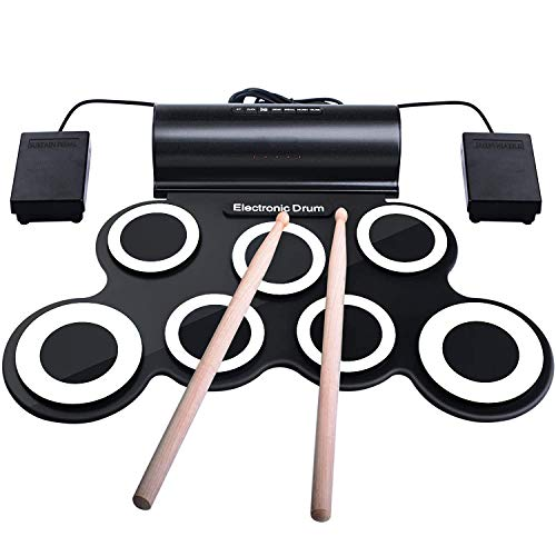 IWORD Electronic Drum Set, Adult Beginner Pro Midi Drum Pad Practice, Roll Up Drum Kit with...