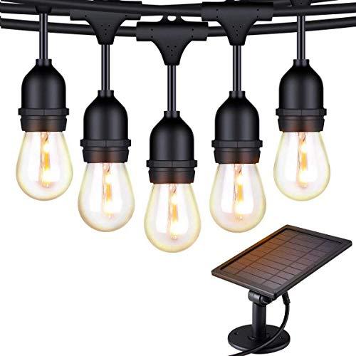 Solar String Lights, 48ft/15m LED Outdoor String Lights Shatterproof Waterproof Pergola Lights 15 Hanging Sockets Light Sensor Edison Bulbs Decor for Patio Backyard Garden Bistro (Black)