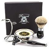 Haryali London Kit de rasage de luxe pour homme Noir 3 bords Compatible avec blaireau avec pointe argentée Brosse à raser, support, savon et bol Cadeau parfait pour homme
