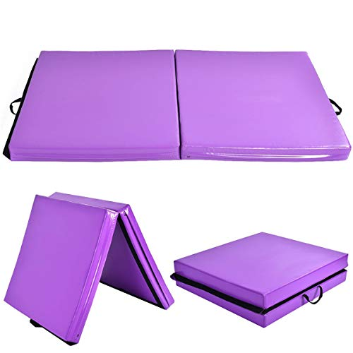 GOFLAME Gymnastics Mat 6'x3.2'X4'', Thick Folding Gym Practice Panel Exercise Mat with Carrying Handles, Gymnastic Floor Mat for Tumbling, Aerobics, Yoga, Stretching, Martial Arts, Purple