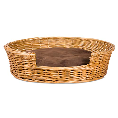 BASIC HOUSE Honey Color Premium Wicker Dog Bed With Washable Cushions (Medium)