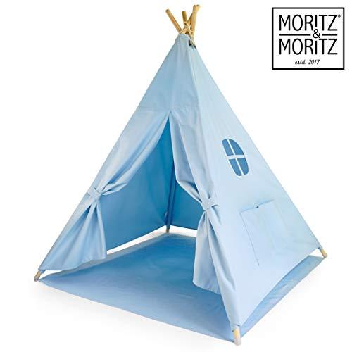 Moritz & Moritz Tipi Zelt für Kinder - Blau Einfarbig - Kinderzelt Spielzelt Geschenkidee - Mit Bodendecke und Fenster - Für Haus und Garten