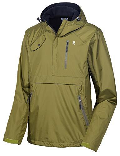 Little Donkey Andy Men's Hooded Anorak Pullover Rain Jacket Packable Raincoat with Fleece Lining, Waterproof & Windproof, Olive S