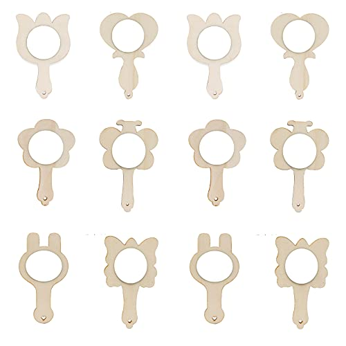 12 Stücke Spiegel aus Holz, Handspiegel zum Basteln, Kleiner Handspiegel, für Do-it-Yourself-Malerei, Desktop-Dekorationen, Kunsthandwerk(Holzfarbe)