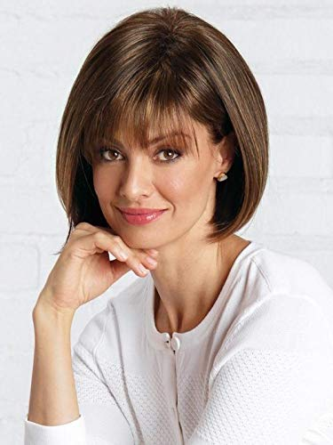 Scorpio Partial Monofilament Wig Color Marble Brown-R - Noriko Wigs 6.25' Chin Length Bob Straight Wispy Bangs Lace Synthetic Hair Avg Cap Orchid Sexy Short Fringe Bundle MaxWigs Hairloss Booklet