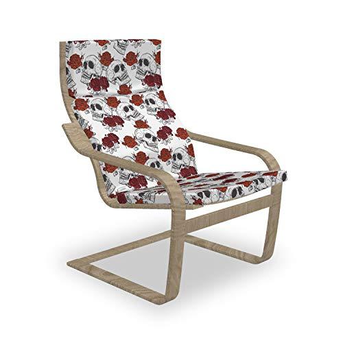 ABAKUHAUS Schädel Poäng Sessel Polster, Roses Gothic Schädel, Sitzkissen mit Stuhlkissen mit Hakenschlaufe und Reißverschluss, Grau