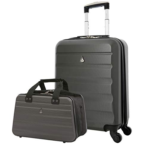 Aerolite Ryanair Maximum Size Set - 55x40x20 ABS 4-Wheel Cabin Bag Suitcase + 40x20x25 Carry On Shoulder Flight Luggage Bag