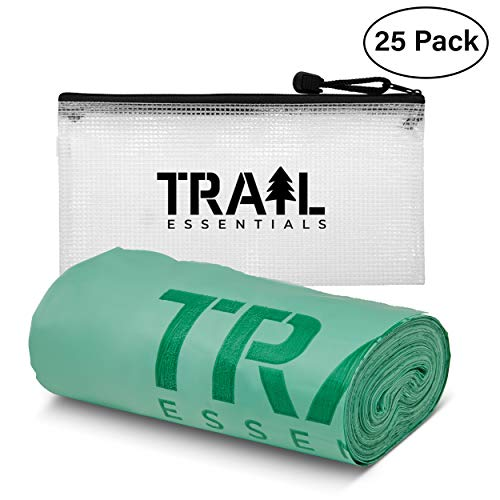 Trail Essentials Toilet Bags, Certified Biodegradable and Compostable; Use and Bury in Ground – Roll of 25 Bags, Includes Convenient Water Resistant Carry Case