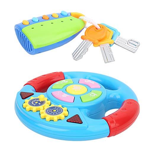 Cerlingwee Juguete Volante Sonido-Luz Llavero de Juguete Luces Diferentes Sonidos Control Remoto para Coche Simular Coche Inicio(Steering Wheel Blue + Key Random)