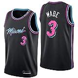 CYQQ Miami Heat Camiseta 3 Wade, Transpirable, grabada, Fresco y Transpirable Tejido Deportivo, Que Absorbe la Humedad(Size:S,Color:A1)