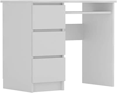 Selsey RAVANELLO - Bureau avec 3 tiroirs - Blanc - 90x50 cm - Style Moderne