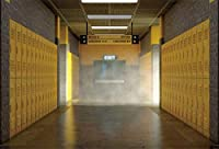 HiYash 10x7ft ロッカーの背景学校の廊下の写真ロッカー黄色のロッカー学校に戻るテーマクラブの活動高校生のチームメイトパーティー写真スタジオの小道具ビニール素材