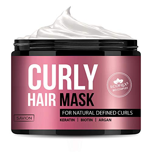 Hair Mask for Curly Hair, Deep Hair Treatment for Dry Damaged or Frizzy Hair, Moisturise & Defrizz - ECOFLEX5 Complex with Natural Coconut Oil, Argan Oil, Shea butter, Keratin, Biotin, and Collagen
