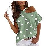YANFANG Top Casual De Manga Corta Moda,Tops TúNica Mujer Camiseta,De Hombro Suelto con Estampado Encantador para Mujer,Verde,Blanco,Bule