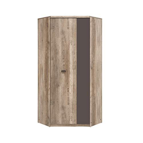 SMARTBett Malkolm Armario esquinero 95,5, 1 puerta de roble Canyon con letra/tungsteno, armario de esquina para dormitorio, armario de entrada, armario de lavandería, armario de sistema