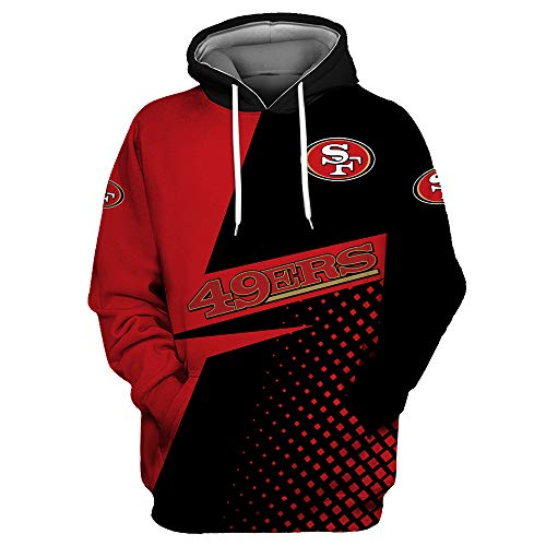 Men's Long Sleeve 3D Digital Print Casual Fashion SF 49ers Letters Print Design Pair Pullover Hoodies - Off-White - X-Large