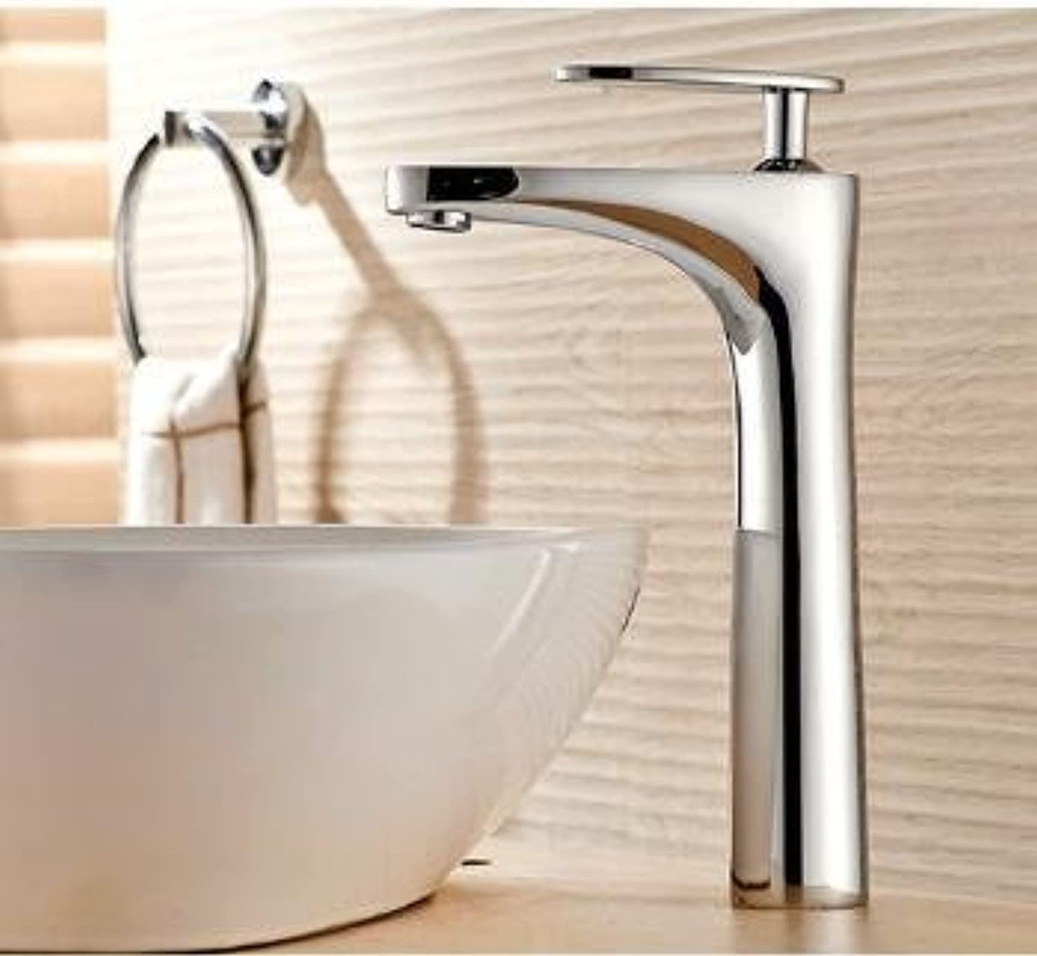 Maifeini New Bathroom Faucet Deluxe High Quality Chrome Finish Hot And Cold Baths Heat Sink Faucet Basin Series, Water Points On The Mixer, Chrome And High