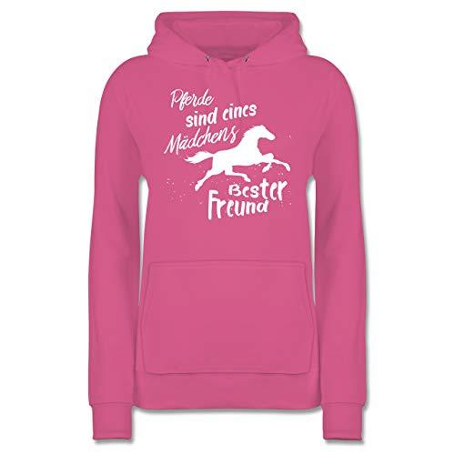 Pferde - Pferde sind eines Mädchens Bester Freund - XL - Rosa - JH001F - Damen Hoodie und Kapuzenpullover für Frauen