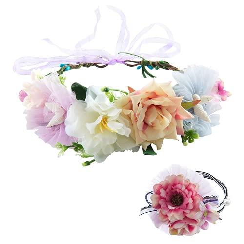 Comius Sharp Mujer Niñas Corona Floral Ajustable Tocado de Flor para Apoyos de La Foto de Fiesta de Boda (A2)