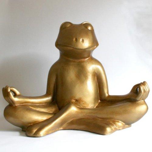 Yoga-Frosch Glücksbringer im Lotussitz
