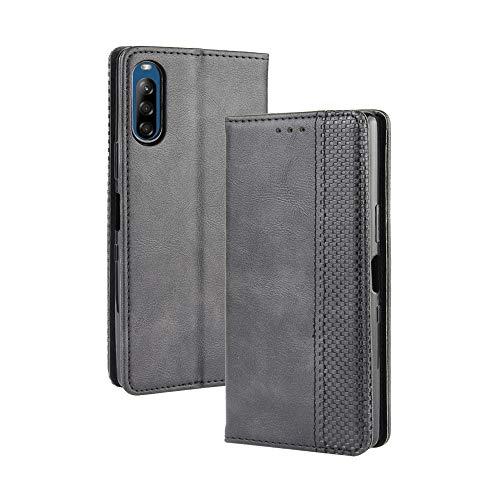 Dedux Flip Hülle kompatibel mit Sony Xperia L4, Retro Leder Brieftasche Abdeckung Magnetverschluss Folio Ständer Kartensteckplätze Handyhülle, Schwarz