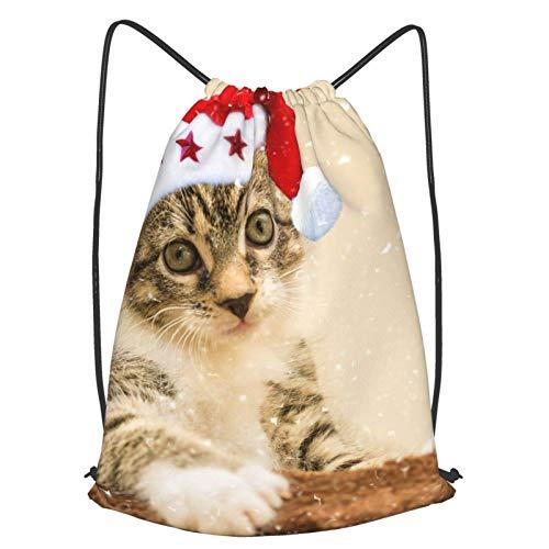 Santa Hat Kitten Cat Print Drawstring Bapa Sapa String Bag Cinch Impermeable Nylon Beach Bag para Gimnasio Compras Deporte Yoga