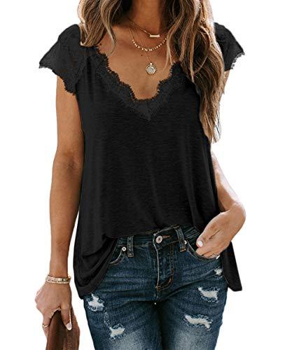 Lantch T-Shirt Damen Oberteile Top V-Ausschnitt T Kurzarm Tee Shirts Spitze Sommer Blusen (abk,m)