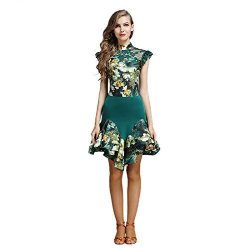 Yipianyun Lateinische Tanz-Kleid-Klage für Frauen-Performance-Kostüm-EIS-Silk Perspektive Rückseiten-Spitze Splice-Tanz-Kleid (2 PCS),Grün,S