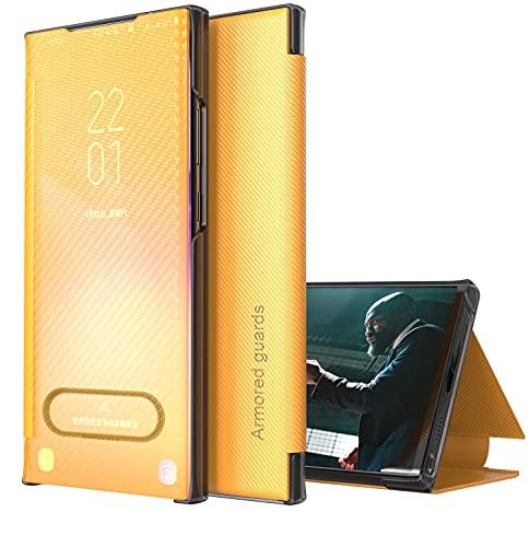 TYWZ Flip Coque pour iPhone XR,Housse Support à Rabat Clear View Cover Case Translucide Miroir Housse Smart Etui à Rabat Antichoc Bumper-Jaune