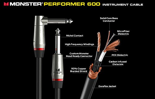 Monster Cable P600-I-6 Jack Droit auf Jack Droit Instrumentenkabel (1,8 m)